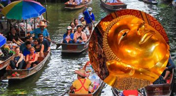Damnoen Saduak Floating Market and City Temple Tour