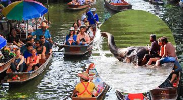 Damnoen Saduak Floating Market and Riverkwai Elephant Bathing Tour