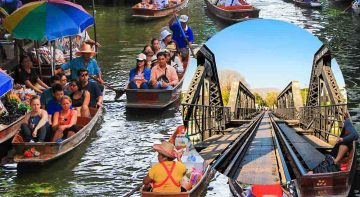 Damnoen Saduak Floating Market and River Kwai Tour