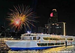 New Year Eve Countdown Bangkok 2021 Thailand.Discount promotion cheap price booking to New Year Eve Buffet Bangkok MeridianAlangka Cruise Chao Phraya river