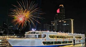 New Year Eve Countdown Bangkok 2021 Thailand.Discount promotion cheap price booking to New Year Eve Buffet Bangkok Meridian Alangka Cruise Chao Phraya river