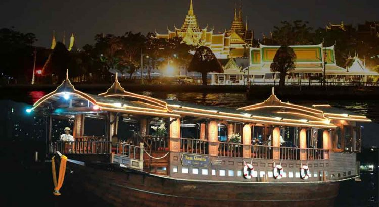Night dining experience Baan Khanitha Cruise Bangkok Best authentic Thai cuisine river floating restaurant Baan Khanitha Cruise booking price discount offer