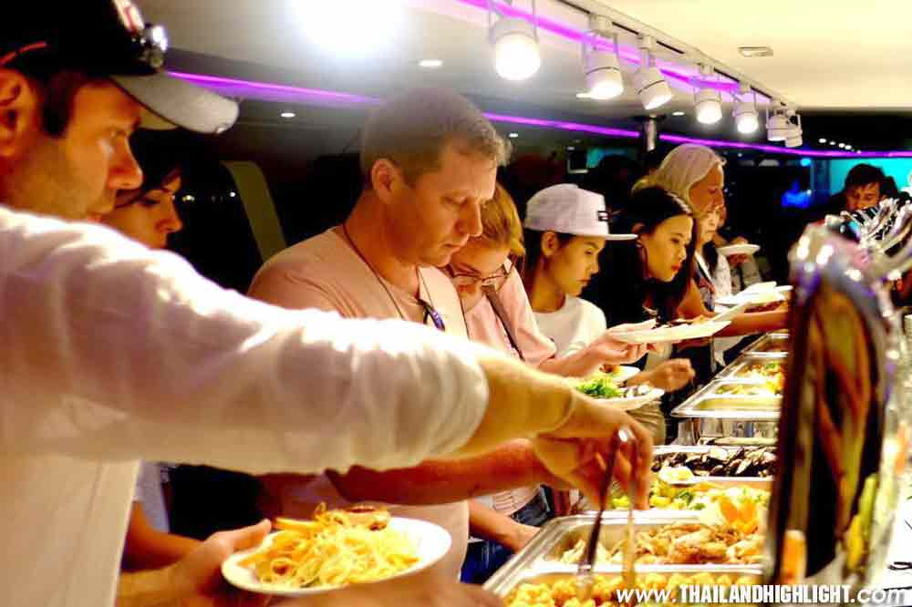 Meridian Cruise Bangkok Dinner Cruise Chao Phraya River,enjoy delicious Thai & International buffet reservation booking online with discount ticket price