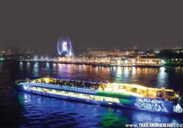 Experience night buffet dinning onboard Riverside Dinner Cruise Bangkok Largest Chao Phraya River Cruise with magnificent view on top deck cruise no roof