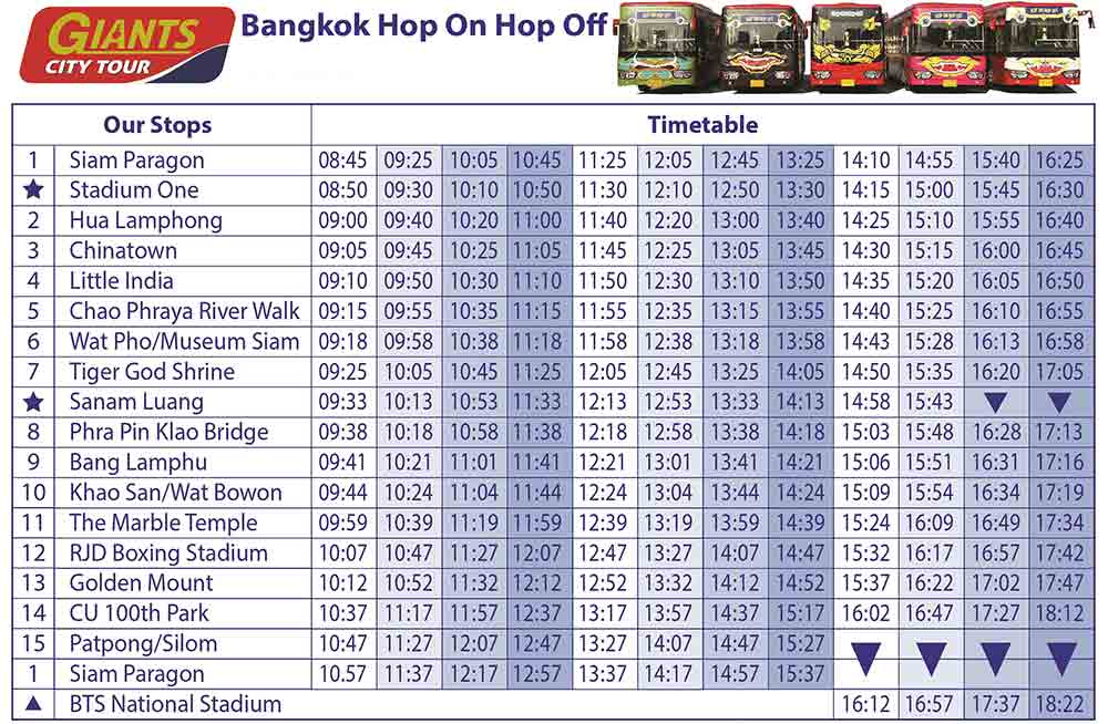 Timetable of Giant city Bangkok Hop On Hop Off Bus in Bangkok by Giants City Tour. The Original Sightseeing Bus Tour of Bangkok Thailand.Discount Ticket Booking Online
