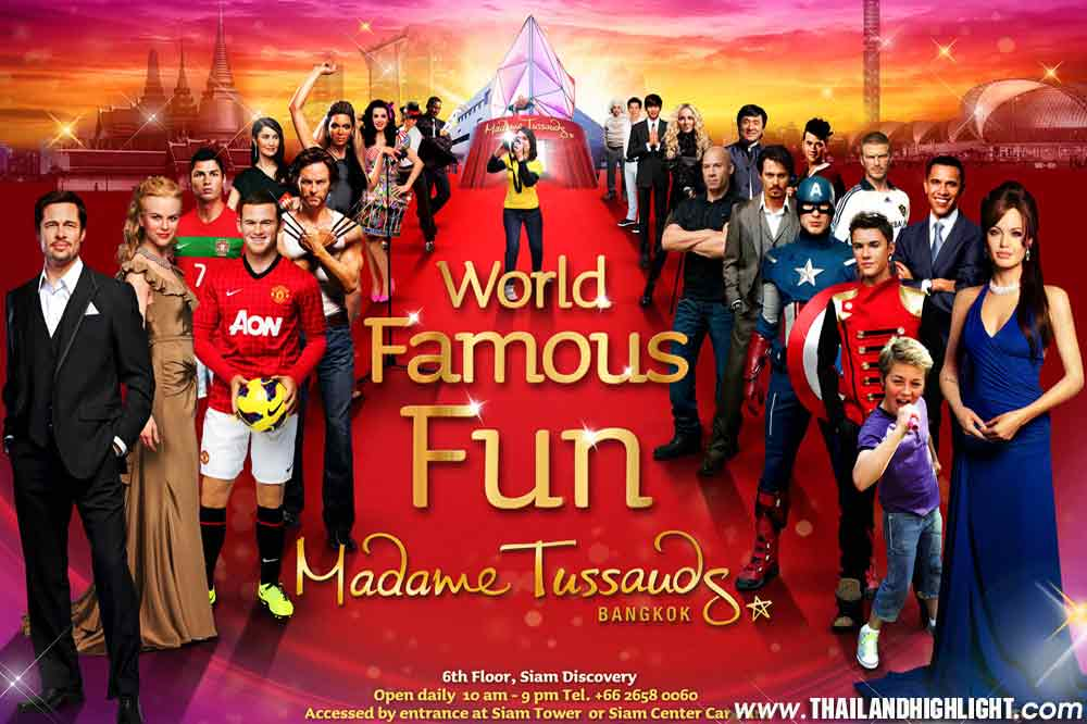 Offer Ticket Price Discount Booking of Madame Tussauds Bangkok Thailand. Museum chain for life-size wax replicas of famous Americans, historic icons Bangkok